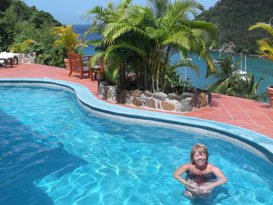 Marigot Palms Luxury Caribbean Guesthouse and Apartments: Pool set high above the bay
