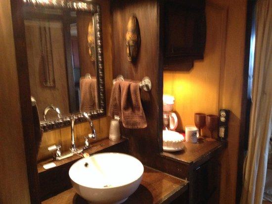 Turpentine Creek Overnight Lodging: Bathroom mini kitchen