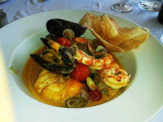 La Verandah: Monkfish stew. Tasty but rubbery