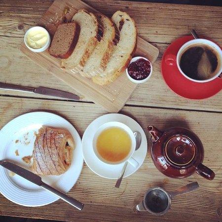 Le Petit Prince Patisserie: Toast selection, pain au chocolat, coffee & darjeeling tea