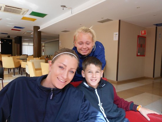Hotel Costa Caleta: my son with two of the entertainment team