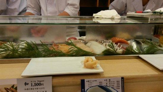 Tsukiji Sushisay Honten: Waiting for the omakase at the counter.