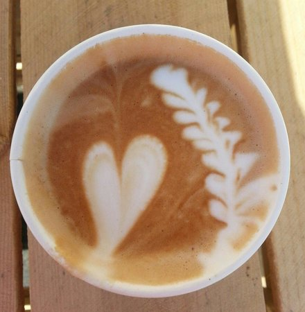 Huckleberry Cafe & Bakery : Huckleberry adds a special touch to their latte.