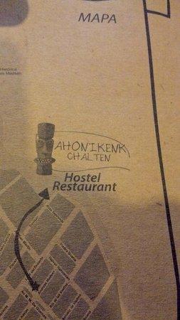 Restaurante Ahonikenk Chalten Fonda Patagonia: mapa