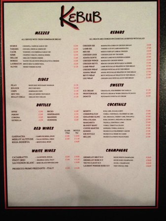 West Bromwich, UK: the menu