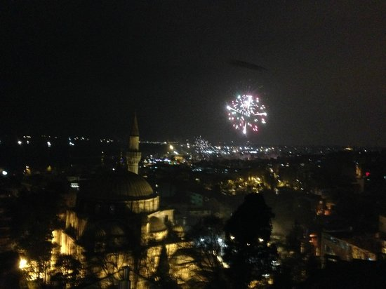 Daphne Hotel : Jan 1 2014 fireworks - view from roof-top restaurant