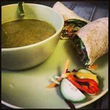 Crowsnest Cafe and Fly Shop: Kalaloo soup with Hummus loaded Veg toasted Wrap