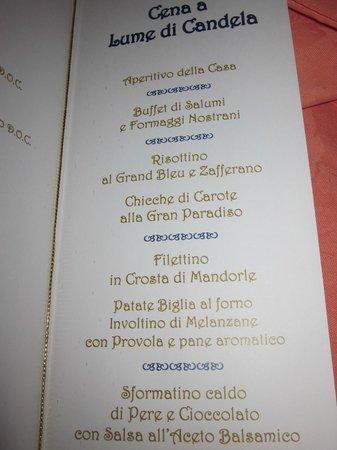 Domina Parco dello Stelvio: menu cena di gala