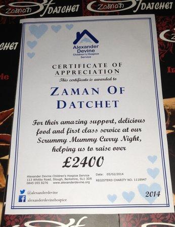 Zaman Of Datchet: Nice to be appreciated
