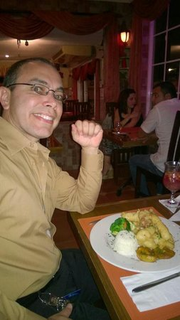 Gostoso : My fiance and his fish (grouper) and shrimps. Huge dish but delicious