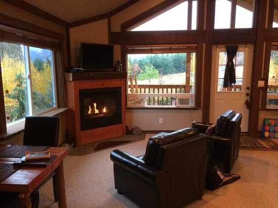 Carson Ridge Luxury Cabins: Cozy fire place