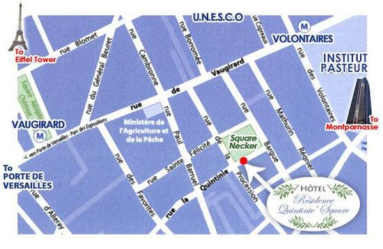 Location Map Picture Of Hotel Residence Quintinie Paris
