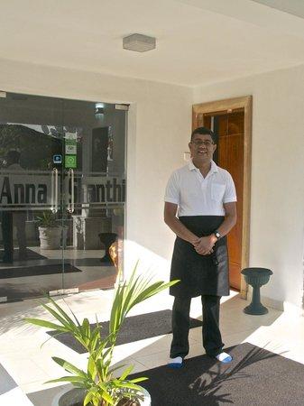 """Anna Shanthi Villa: Prasanna, owner of Anna Shanthi, wishing us """"bon voyage""""."""