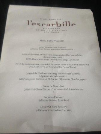 L'Escarbille: menu Valentin