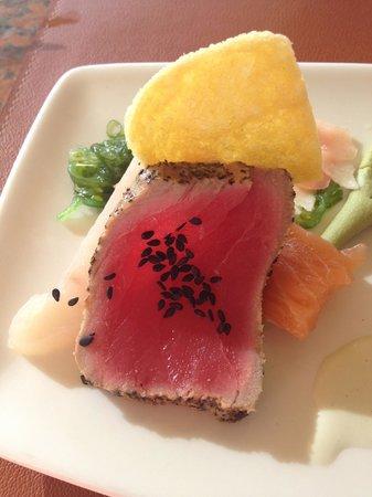 Mulligans: closeup of sashimi plate