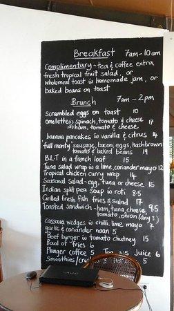 Beachside Resort: The menu