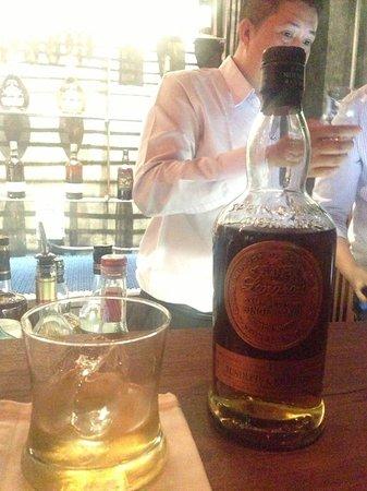 Cask 81 Whisky Bar: At bar table longrow with rock ice