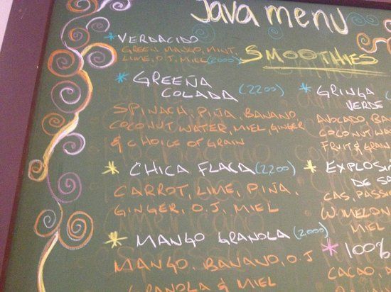 Java 654 Coffee Shop : Smoothie menu