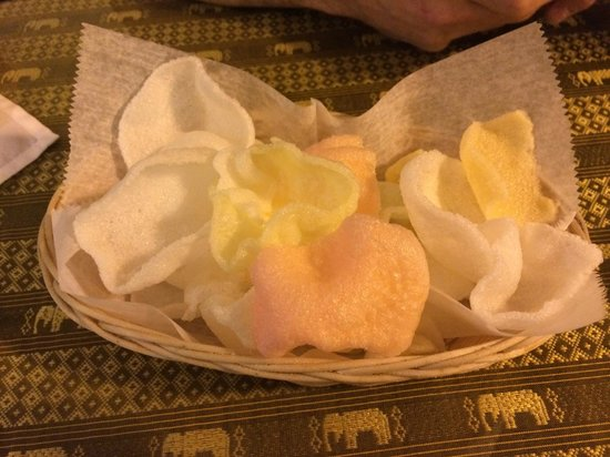 Thai Fusion: Shrimp chips...  The first basket is complimentary...  something nice and airy to munch on!