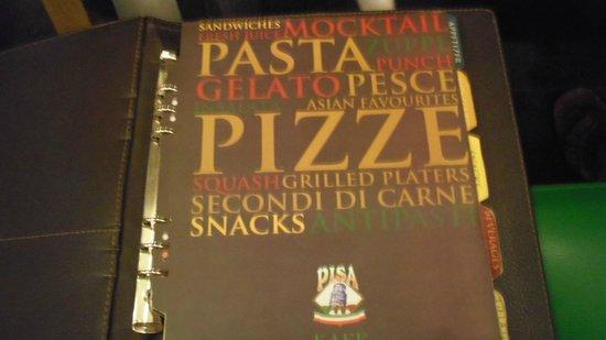 Pisa Cafe : メニュー表紙