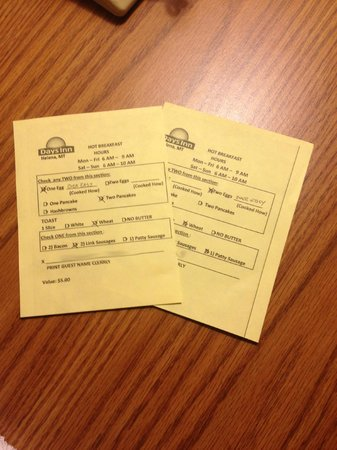 Days Inn Helena: breakfast order sheet