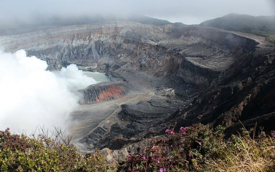 View into crater of Poas Volcano