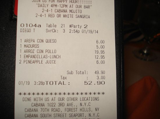 Cabana Restaurant: Check