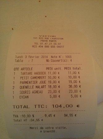 Restaurant Victor : La cena 4 personas