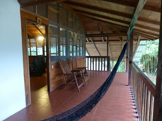 Jungle Lodge El Jardin Aleman : Balcony outside our screened porch complete with hammock