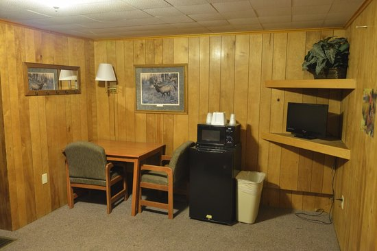 Country Lodge: sitting area and microwave & fridge