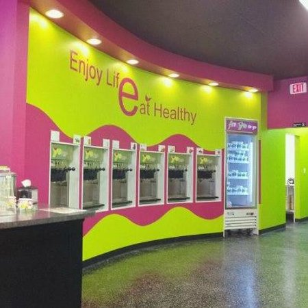 Yofresh Yogurt Cafe: Wall of Flavors and fun.