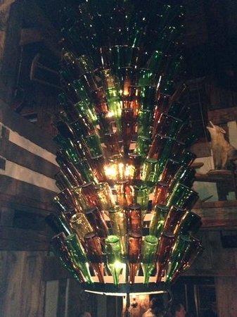 The Fox & Hounds Restaurant & Tavern: wine bottle chandelier