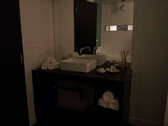 Hotel Metro: Sink area with the great aveda products