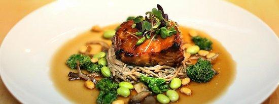 10 Acres Bistro Bar: Miso glazed sablefish/mushrooms/edamame/soba noodles.
