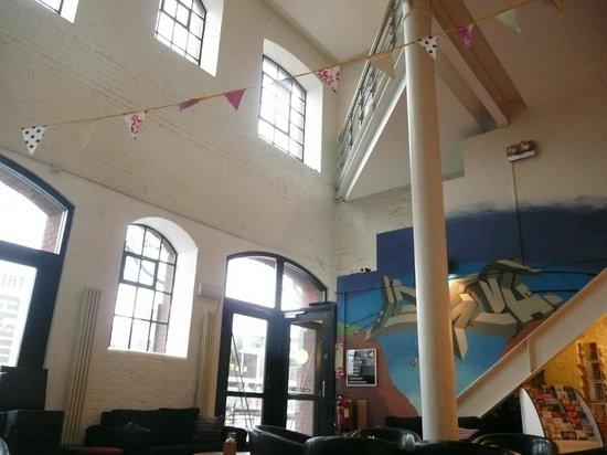 YHA Bristol : Lobby area, entrance, stairs to restaurant (1st floor)