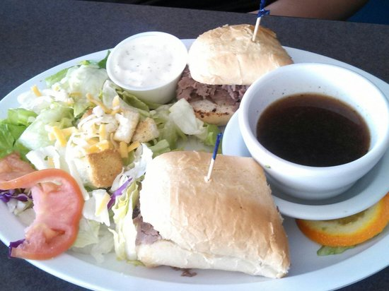 Alibi's Sports Bar and Grill: French Dip with a side salad