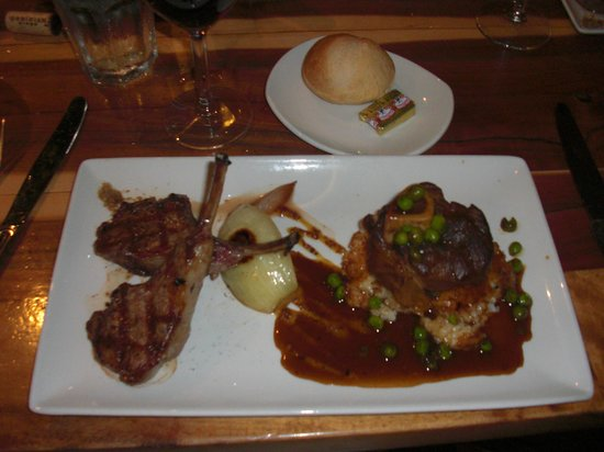 Duke's Kauai : Spring Lamb Duo - Chops and Oso Buco on a bed of risotto. Yum!
