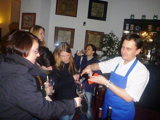 Akademicka kavarna a vinoteka: Michal is always popular both as a chef and waiter
