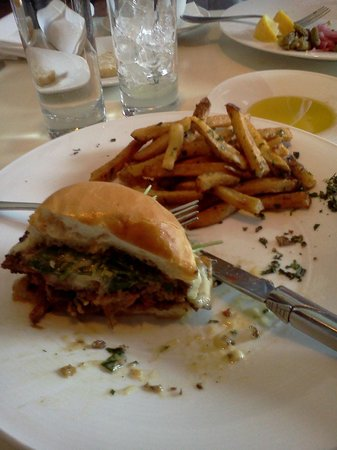 L'Albatros Brasserie + Bar: L'Albatros burger, half eaten...
