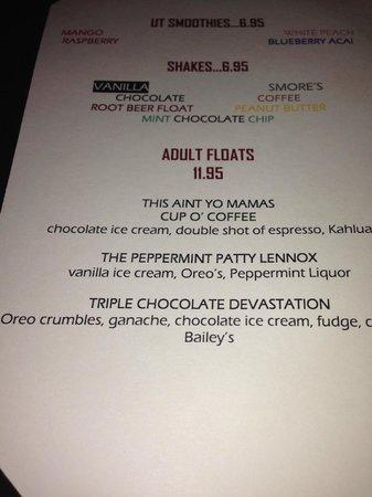 Urban Table: adult float menu