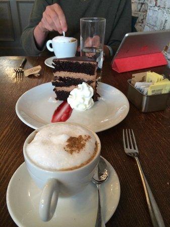 Barrique Bistro and Wine Br: Cappucino, Chocolate Cake, Olympics on iPad