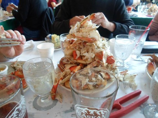 George Inlet Crab Feast: Our table's stack the crab shell effort!