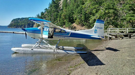 Pat Bay Air Floatplane Tours: Picking up a case of wine. Saturna Island Vineyard tour