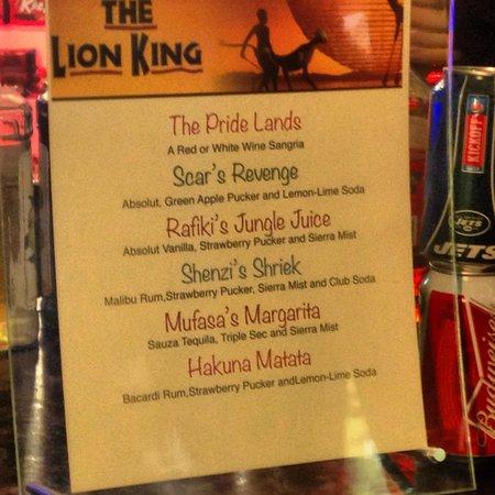 The Lion King: Drink menu