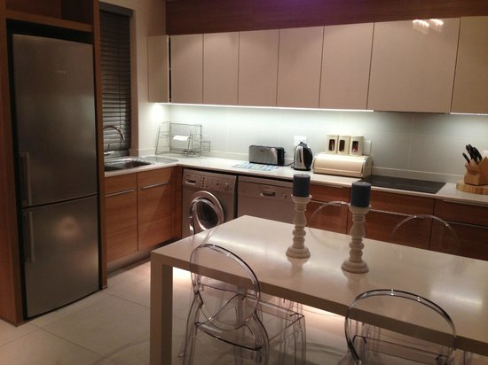 The Residences at Crystal Towers: Kitchen with washer.