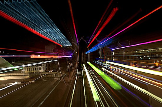 "Adelaide Photography Tours: ""warp speed""  lights from Festival Centre plaza"