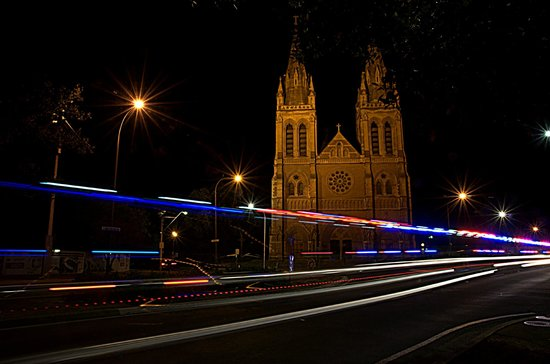 "Adelaide Photography Tours: ""religion and reality""  ambulance passing the Cathederal"