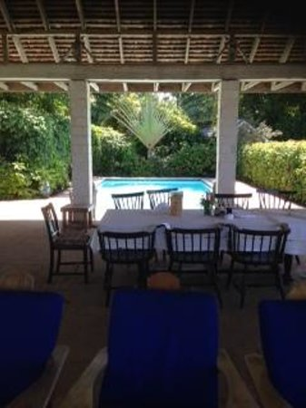 Bluefields Bay Villas: This is where we at every meal (love that awesome tree by the pool)