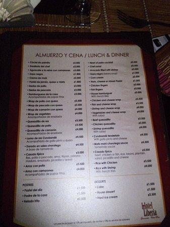 Hotel Liberia: menu, pas cher