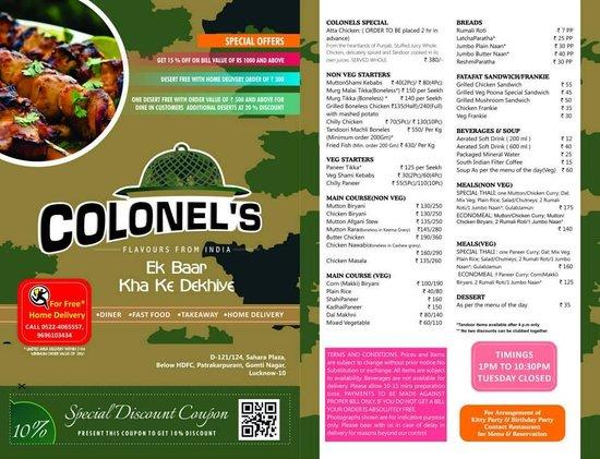 Colonel's Menu